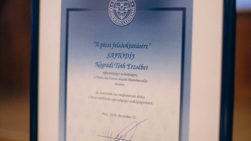 Nógrádi Tóth Erzsébetnek ítélték oda a Pécsi Felsőoktatásért Sajtódíjat